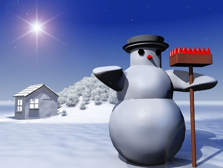 snowcovered: snowman and snow-covered landscape Stock Photo