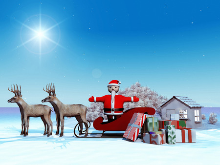 santa sleigh: Santa Claus on his sleigh