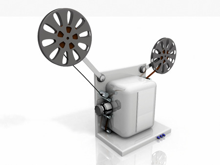 film projector: film projector on a white background