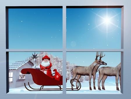 saint nick: Santa Claus on his sleigh