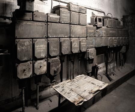 breakers: old industrial circuit breakers Stock Photo