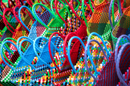 braided: color braided baskets Stock Photo