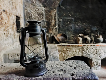 oil lamp: an old oil lamp