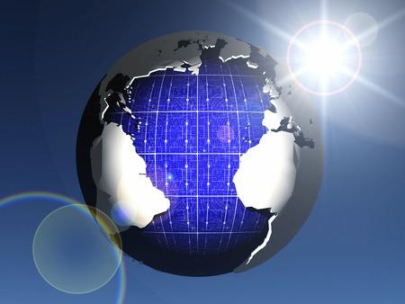 solar cell: solar cell earth Stock Photo