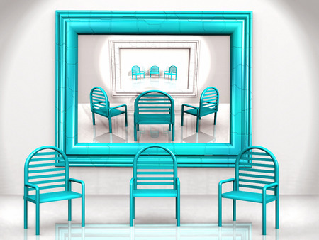 chairs: blue chairs Stock Photo
