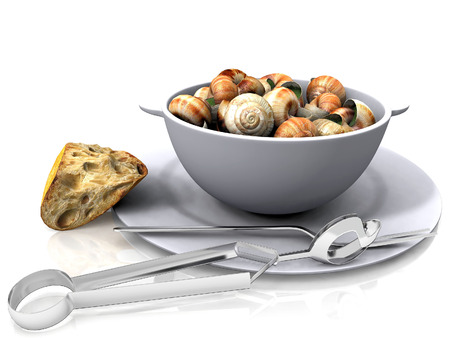 Fried snails and breads