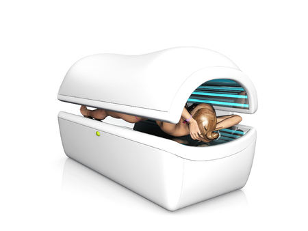 sunbed and women Stock Photo