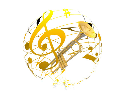 Trumpet and music note