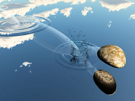 Ricochet of a stone on the water Stock Photo