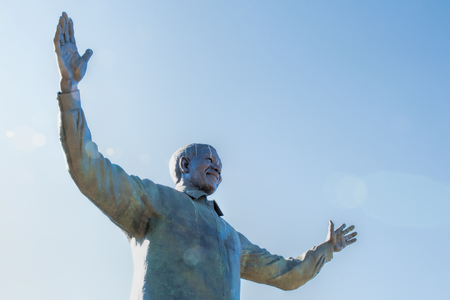 statue of Nelson Mandela Stock Photo