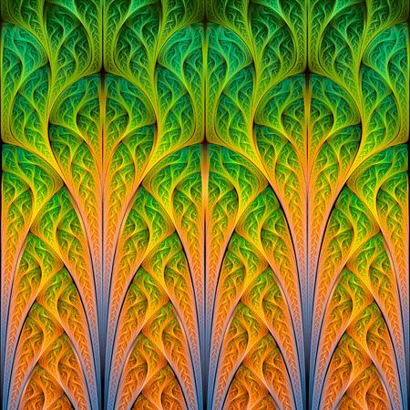 Abstract fractal background, green-orange mosaic  interlacing pattern