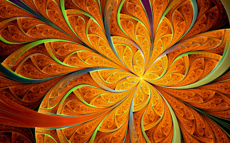 Abstract fractal, orange ornamental pattern with curved stripes and yellow glowing core