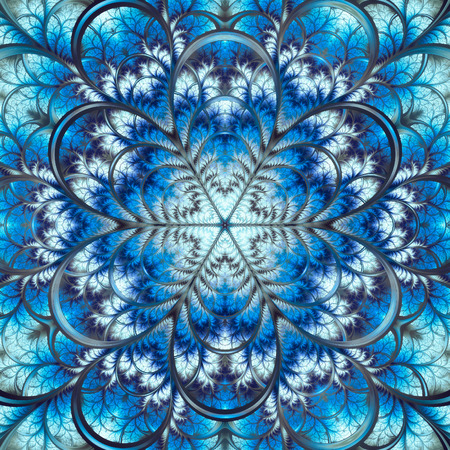 Abstract fractal background, decorative blue-white symmetric pattern