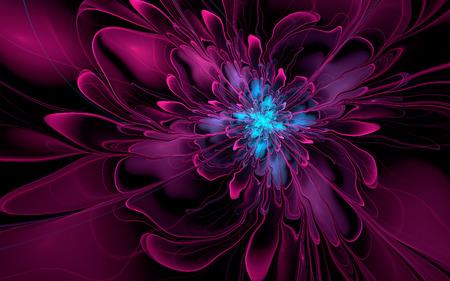 Abstract fractal, purple-cyan wavy flower on dark background 版權商用圖片