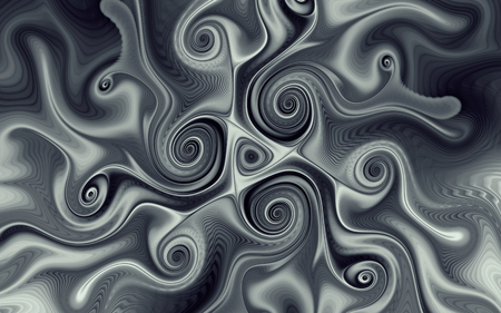 abstract fractal, black and grey swirls with soft wavy stripes