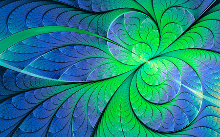 Abstract fractal background, green-blue mosaic ornamental pattern with curved stripes 版權商用圖片