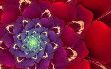 abstract fractal background, decorative spiral blue-red flower