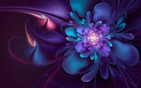 Abstract fractal, wavy cyan-violet flower, glowing on dark background 版權商用圖片