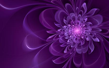 Abstract fractal, glowing violet flower, dark background
