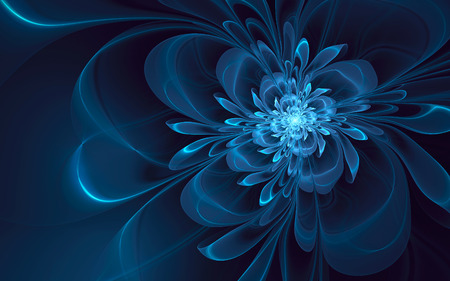 Abstract fractal, glowing blue-cyan flower, dark background 版權商用圖片