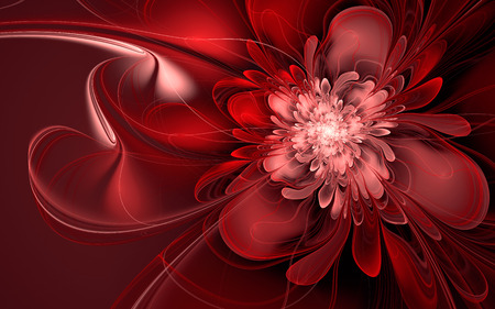 Abstract fractal background, wavy red flower with red and white curves