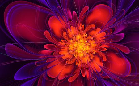 Abstract fractal, wavy red-purple fiery flower, glowing on dark background