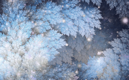 Abstract fractal, decorative blue-white snowy sparkling tree branches and glowing light spheres