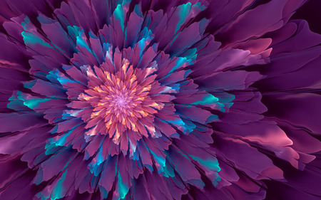 Abstract fractal background, glossy violet flower with  cyan and yellow highlights 版權商用圖片