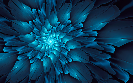 blue spiral: Abstract fractal background, glossy blue spiral with glowing core