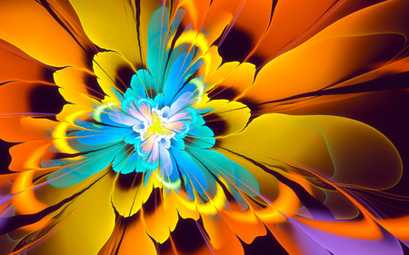 vivid colors: Abstract fractal background, yellow-cyan flower, vivid colors