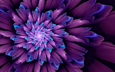 Abstract fractal background, glossy violet-cyan spiral flower