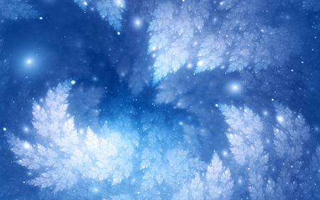abstract fractal background, light-blue decorative glowing fir-tree branches surrounded by sparkling snow-like spray