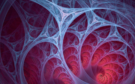 Abstract fractal, blue  lines structured into arcs of alien biotech texture on red background