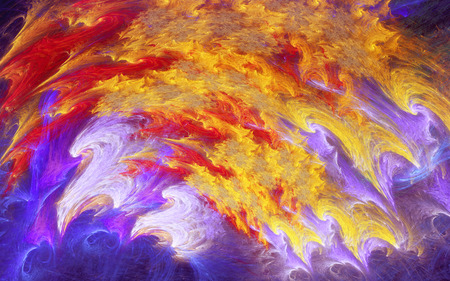 abstract fractal, vivid chaotic yellow and blue  color strokes curved to arc