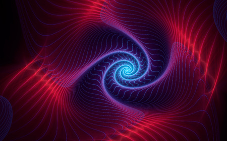 abstract fractal, red-violet spiral with neon blue highlight, soft curves