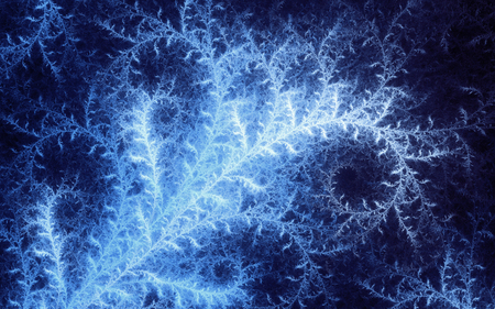 tracery: abstract fractal, light-blue decorative frost tracery on dark background Stock Photo