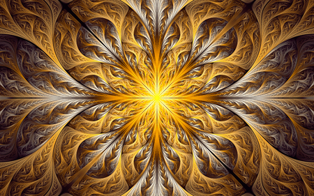 Abstract fractal background, golden-white decorative ornamental pattern with glowing center 版權商用圖片
