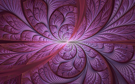 Abstract fractal background, purple mosaic ornamental pattern with curved stripes