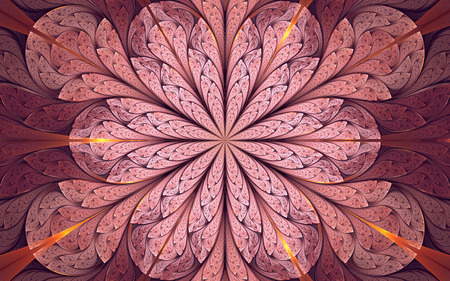 Abstract fractal background, red-lilac mosaic ornamental pattern with curved stripes