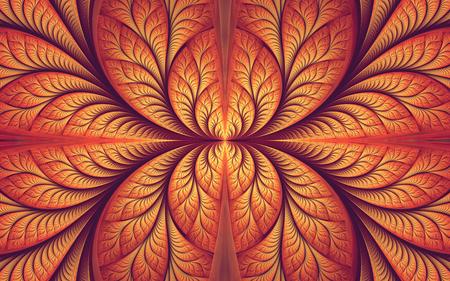 abstract fractal, symmetric orange mosaic ornamental pattern