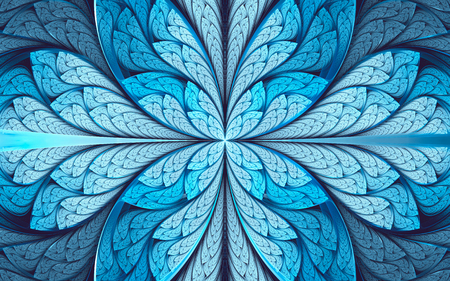 Abstract fractal background, cyan-blue mosaic pattern, center-symmetric