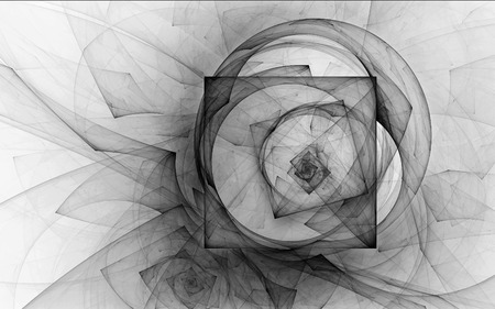 Abstract fractal, chaotic curves wrapped into squares, black and white background 版權商用圖片