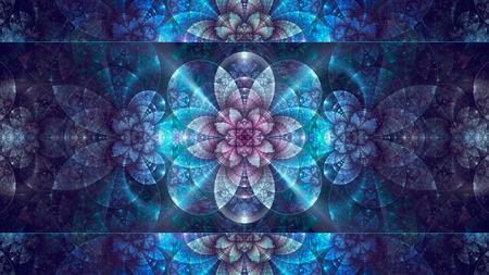 Abstract fractal, blue mosaic decorative shining flower 版權商用圖片
