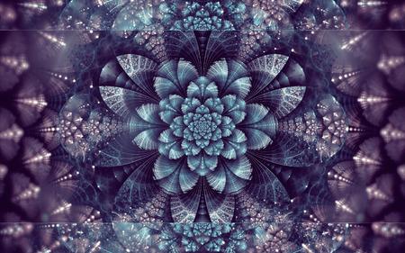 Abstract fractal background, shining cyan-violet flower, dark background