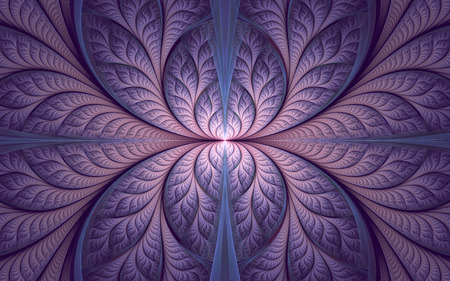 Abstract fractal background, violet-pink mosaic ornamental pattern with curved stripes