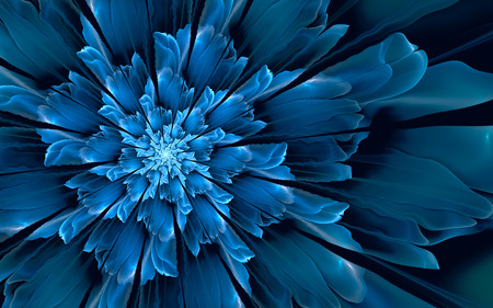 fractal background: Abstract fractal background, decorative glowing cyan-blue flower Stock Photo