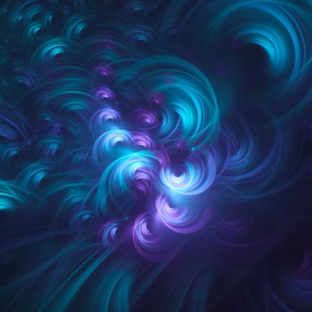 Abstract fractal, chaotic glowing light cyan curls on dark blue background 版權商用圖片