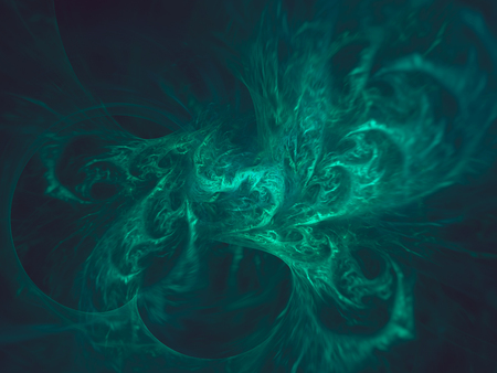 Abstract fractal, dark green background, chaotic curves with motion blur 版權商用圖片