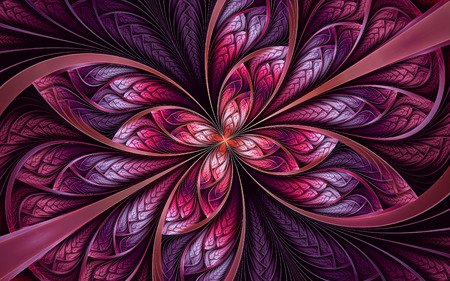 Abstract fractal background, red-violet mosaic ornamental pattern with curved stripes 版權商用圖片