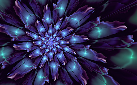Abstract fractal background, glossy glowing decorative cyan-blue flower 版權商用圖片